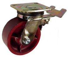 """5"""" x 2"""" Ductile Steel Swivel Caster with total lock brake - 1250 lbs Capacity"""