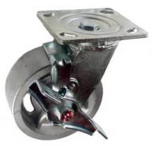 "5"" x 2"" Cast Iron Swivel Caster with top lock brake - 900 lbs Capacity"