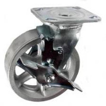 "6"" x 2"" Cast Iron Swivel caster with top lock brake - 900 lbs Capacity"