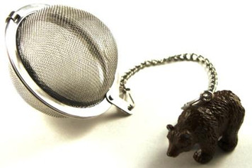 Mesh Ball Tea Infuser - 2 inches - Grizzly Bear Design