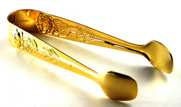 Sugar Tongs - Gold with Roses
