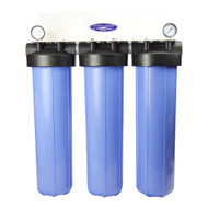 "Whole House Inline Water Filter System (City or Well Water) Inline, Compact Mid-Size Triple 20"" x 5""  160K Gallons Capacity"