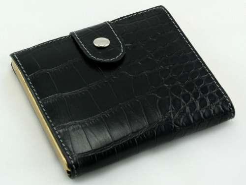 Black Crocodile Snap Cigarette Case
