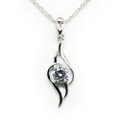 Sterling Silver Necklace, Elegant Women Pendant, CZ Stone, Free Chain