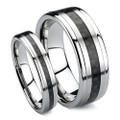 Matching Tungsten Wedding Band Set, Black Carbon Fiber Inlaid Rings