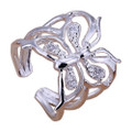 Sparkling Butterfly 925 Sterling Silver Adjustable Ring