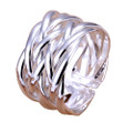 925 Sterling Silver Adjustable Interwoven Knot Ring