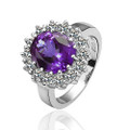 White-Gold Plated Amethyst Fashion Ring