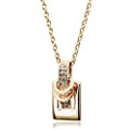 Elegant Crystal Gold Plated Pendant, Belt Buckle  Women Necklace, FREE  Chain