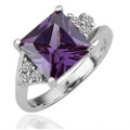 White-Gold Plated, Square-Cut, Amethyst Fashion Ring