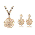 Gold Plated Large Rose with Crystal Core Necklace and Earring Jewelry Set