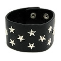 Thick Black Star Studded Leather Bracelet