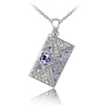 Fashionable Purse Shape with Clear and Blue Crystal, Women Necklace