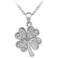 Cubic Zirconia Stone Four Leaf Clover Pendant Necklace FREE  Chain