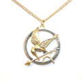 Beautiful Rose Gold Hunger Games Mocking Jay Pendant Sweater Necklace for Women