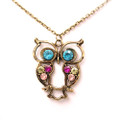 Fashion Antique Owl Pendant Sweater Necklace