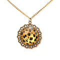 Round Fashion Antique Leopard Pendant Sweater Necklace