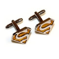 Silver and Gold Superman Stainless Steel Cuff Links