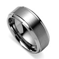 8MM Men Tungsten Ring, Brush Matte Finish, Bevel High Polish Edge