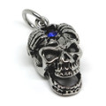 Open Skull with Blue Jewel Stainless Steel Pendant Necklace, 600MM Chain