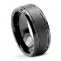 8MM Men Black Tungsten Ring, Brush Flat Top, High Polish Bevel Edge
