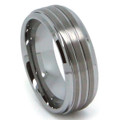 8MM Men Tungsten Ring, Flat Top with Triple Brush Lines, High Polish Bevel Edge