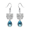 Butterfly Crystal Earring Set, Blue Tear Drop Cubic Zirconia Earrings