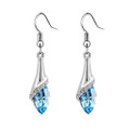 Aqua Blue Crystal Earring Set, Upside Down Lilly Flower Earrings