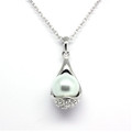 Pearl and Teardrop Crystal Pendant, Women Necklace FREE  Chain