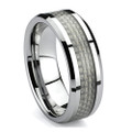 Tungsten Ring, Wedding Band, High Polish, Bevel Edge with White Carbon Fiber Inlaid, 8MM