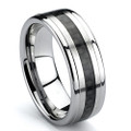 Tungsten Ring, Wedding Band, High Polish,  Raised Land with Black Carbon Fiber Inlaid, 8MM
