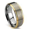 Tungsten Ring, Wedding Band with Gold Plated Edge, Brush Finish Flat Top, 8MM