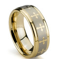 Tungsten Ring, Wedding Band Gold Plated with Crosses, Flat Top, 8MM