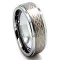 Tungsten Ring, Wedding Band, Bevel Edge Polished with Celtic Etching, 9MM