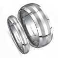 Matching Wedding Band Sets, Dome, with Double Brush Matted Finish Lines