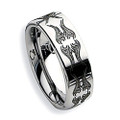 Tungsten Ring, Wedding Band, with Cool Engraved Patterns, Chrome Finish, 8MM