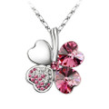 18K Gold Plated Fuchsia Crystal 4 Heart Leaf Clover Pendant Necklace