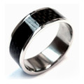 Titanium Ring,  Wedding Band, Flat Top with Black Carbon Fiber Inlaid, 8MM