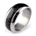Titanium Ring with Black Carbon Fiber Inlaid, Domed, 8MM