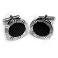 Stainless Steel with Black Carbon Fiber Cuff Links