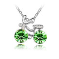 Bicycle Pendant Necklace with 2 Round Light Green Crystals, Cubic Zirconia