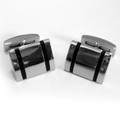 Stainless Steel with Double Stripes of Resin Inlaid Cuff Links