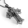 Stainless Steel Cross Pendant, Very Cool Design, High Polish Finish, Free Ball Chain