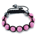 Lovely Pink Disco Ball Shamballa Bracelet w/ Hematite Accents