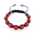 Brilliant Ruby Red Pave Beads Shamballa Bracelet w/ Hematite Accents