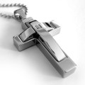 Stainless Steel Mens Cross Pendant with Stone, FREE Chain