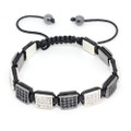 Shamballa Bracelet Clear Crystal and Black Crystal Square Pave Beads