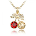Super Cute Cherry Pendant Necklace for Women with Red Crystal Accent