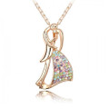 Very Romantic Couple Pendant Necklace for Women with Crystal Accents