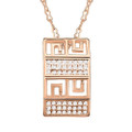 Very Chic Rectangle Pendant Necklace for Women with Crystal Accents